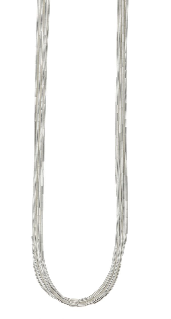 10 Strand Liquid Silver Necklace
