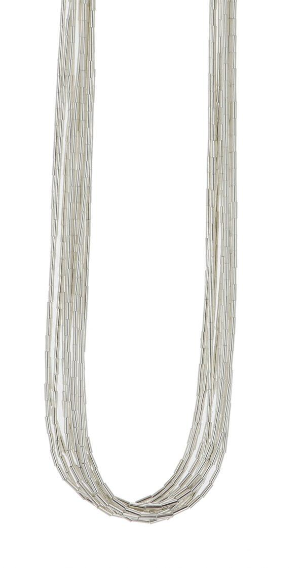 10 Strand Liquid Silver Necklace
