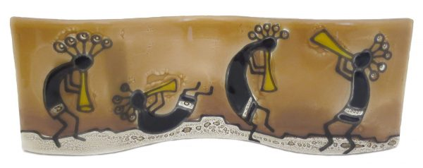 Four Kokopelli's Wavy Glass Art - M017KOK