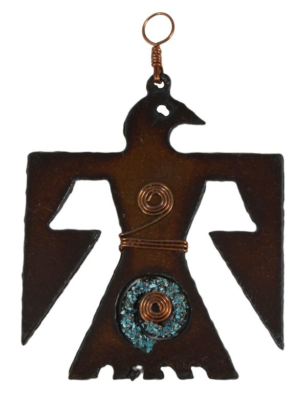 Thunderbird Copper and Turquoise Ornament