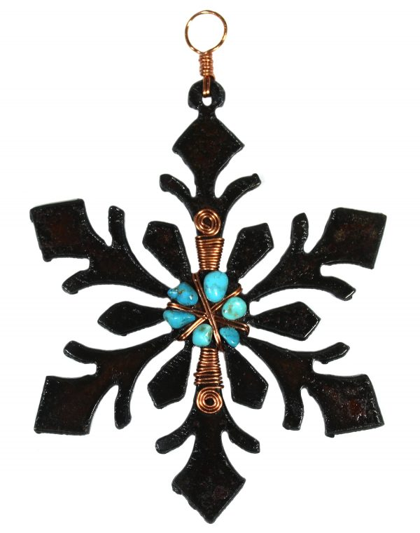 Snowflake Ornament with Copper and Turquoise