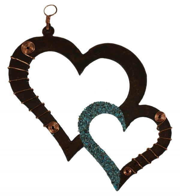 696O - Double Heart with Copper and Turquoise