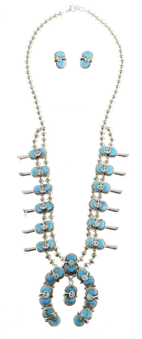 Zuni Squash Blossom Necklace and Earring Set