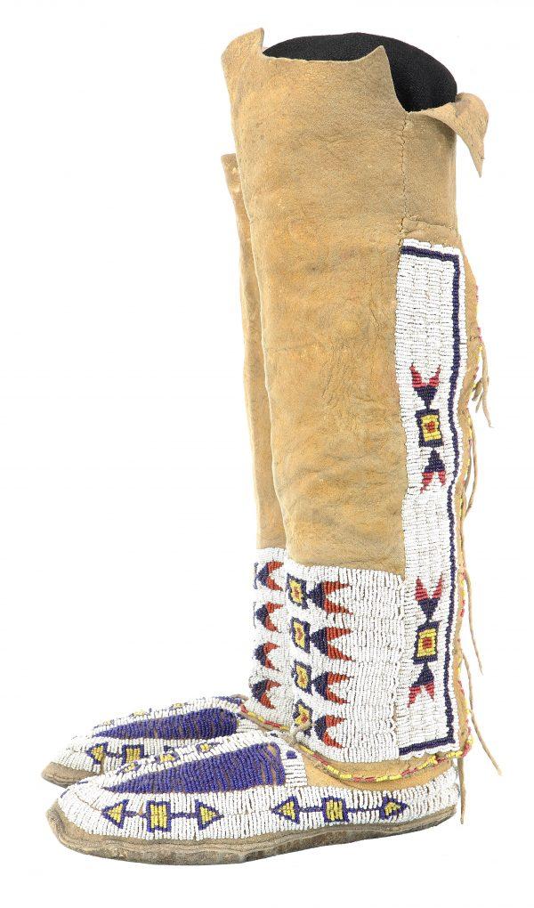 Cheyenne Beaded Hide Hightop Moccasins