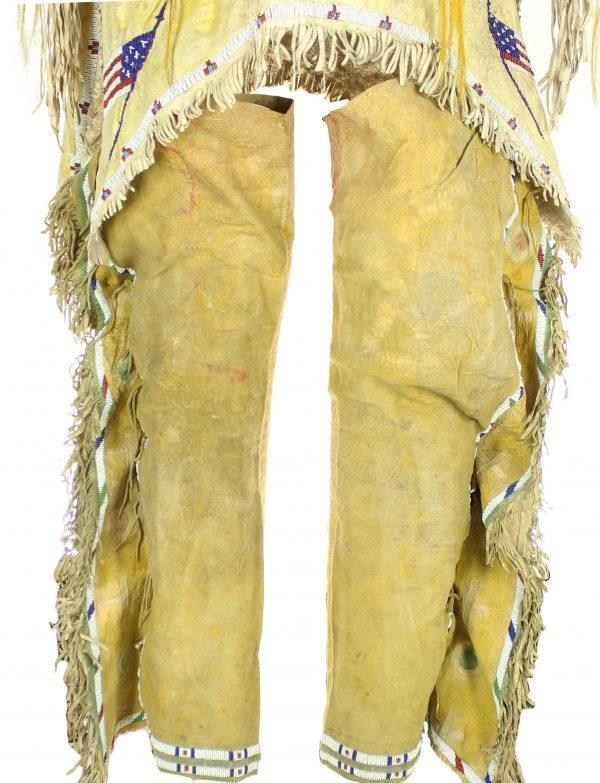 Antique Ponca Beaded Hide War Shirt and Leggings