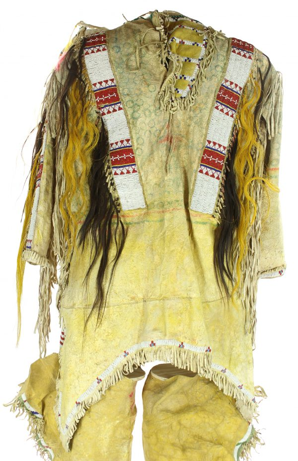 Antique Ponca Beaded Hide War Shirt and Leggings