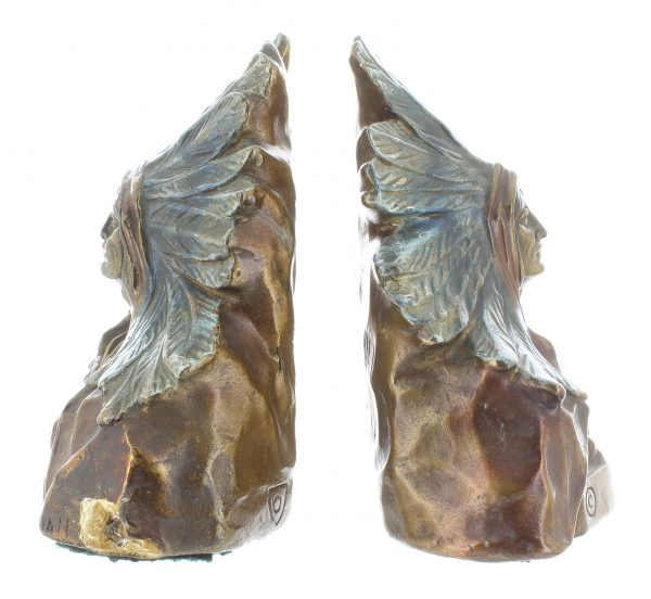 Armor Bronze Native American Chief Bookends