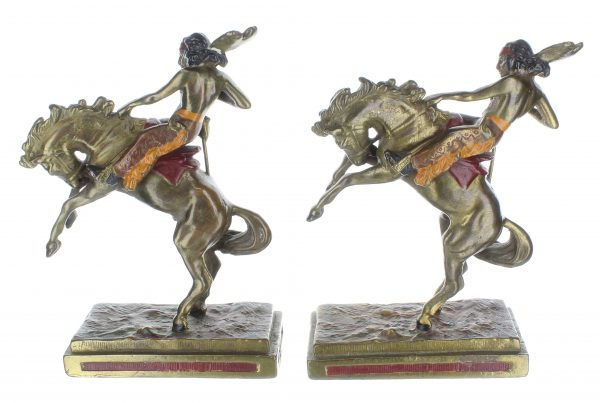 Native American On Horse Bronze Bookends