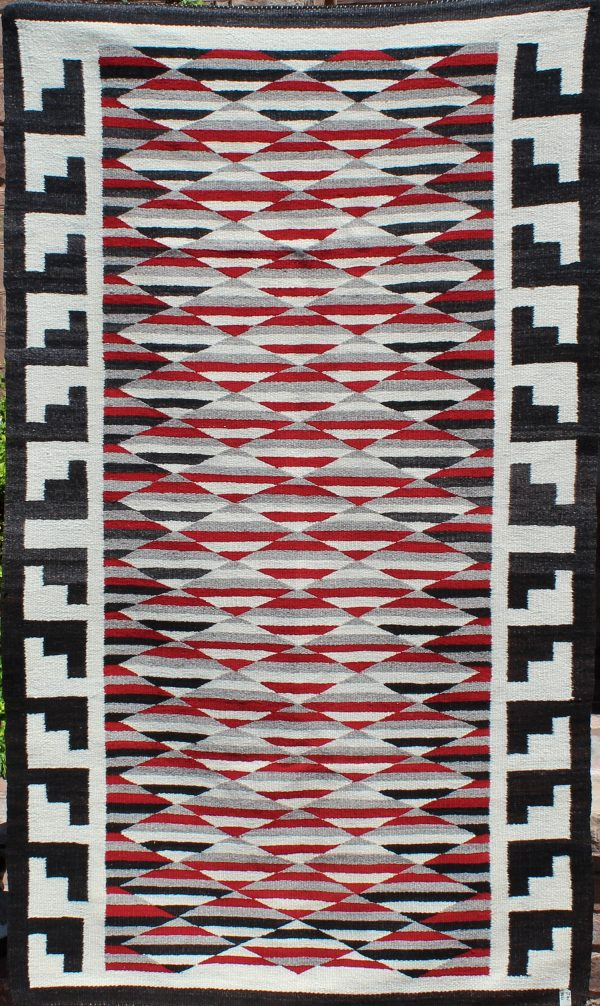 A1684 - Navajo Handwoven Optical Eye Dazzler Rug