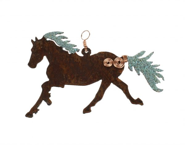 Horse Ornament with Copper and Turquoise