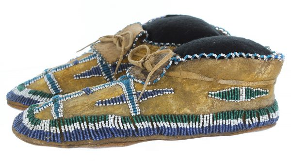 Apache Child's Beaded Hide Moccasins