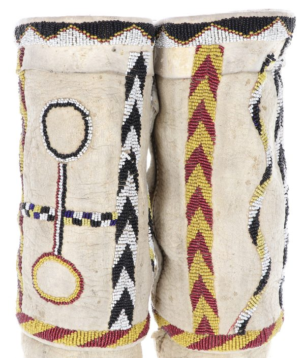 Antique Apache Beaded Tab Toe Moccasins