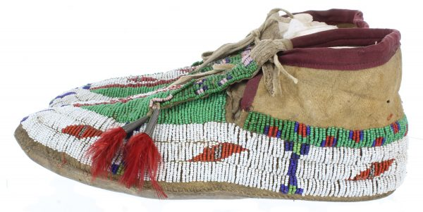 Antique Handmade Sioux Beaded Hide Moccasins