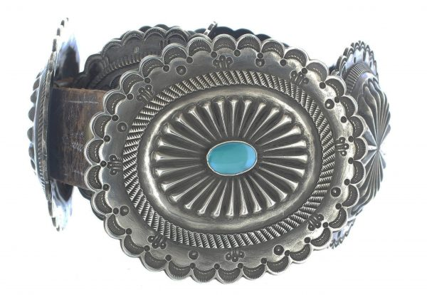 Antique Sterling Silver Concho Belt