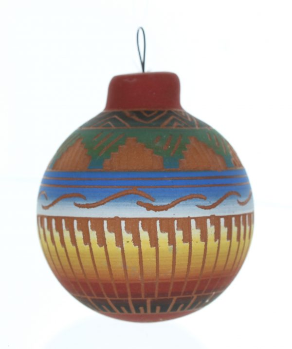 Navajo Etched Ceramic Pottery Ornament
