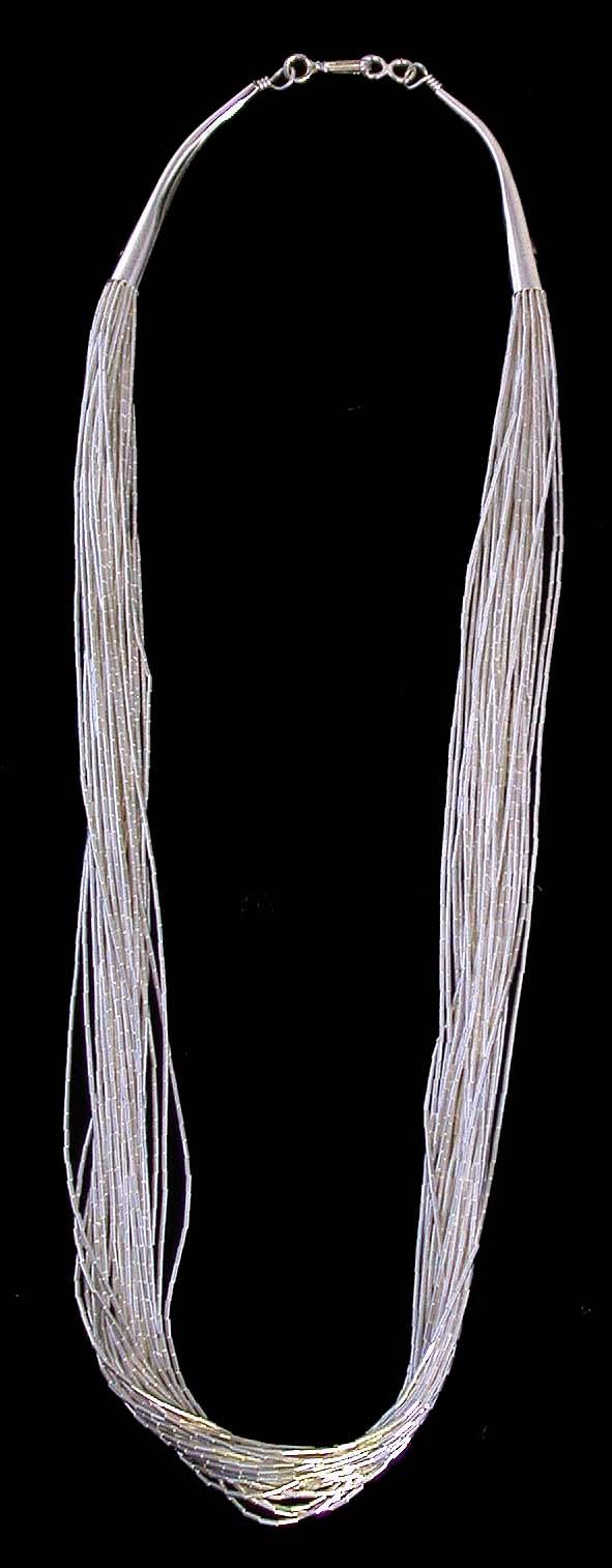 30 Strand Liquid Silver Necklace