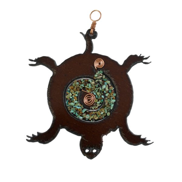 Fetish Turtle Ornament with Copper and Turquoise