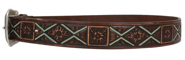Vintage Brown Floral Western Leather Belt