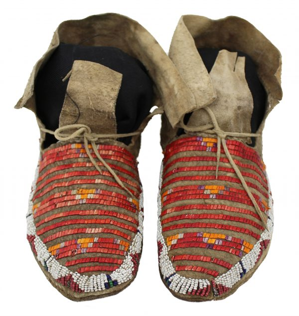 Sioux Beaded and Quilled Hide Moccasins