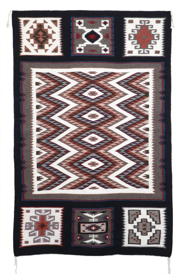 Minnie Yazzie Navajo Handwoven Sampler Rug