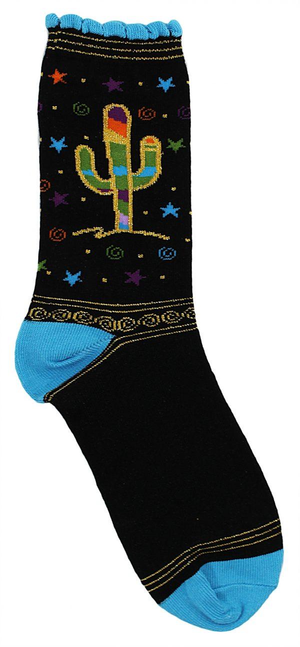 Metallic Teal Saguaro Socks