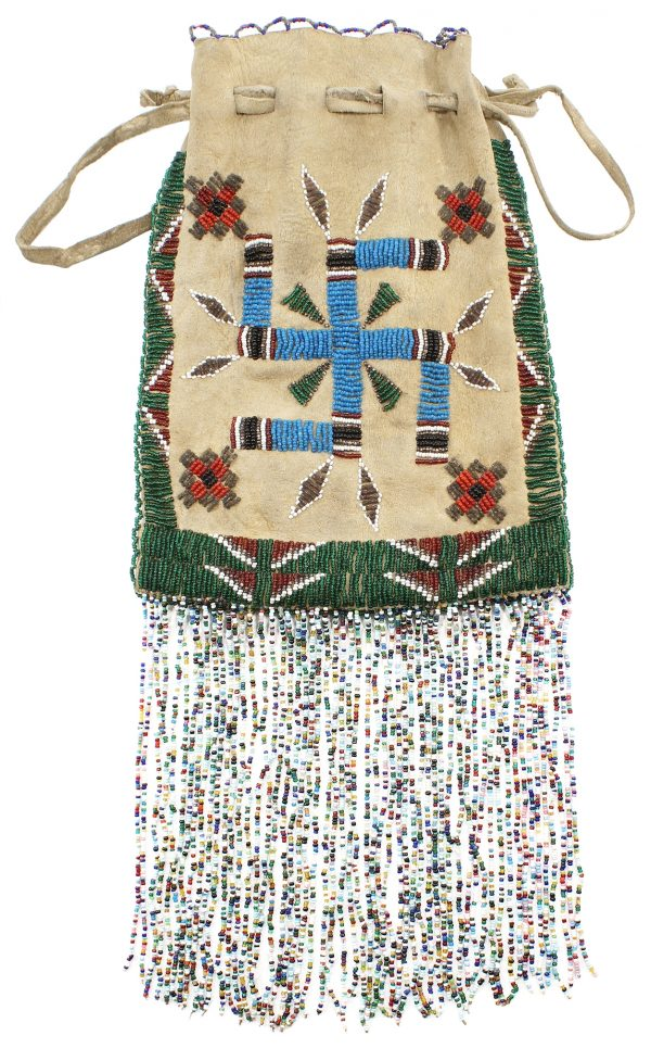 Apache Beaded Hide Bag