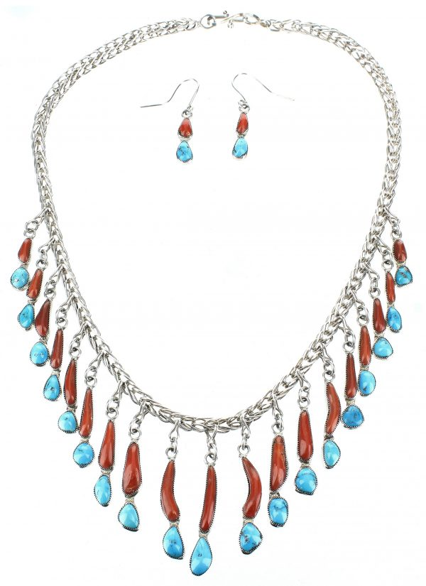 Smokey Gchachu Zuni Necklace and Earring Set