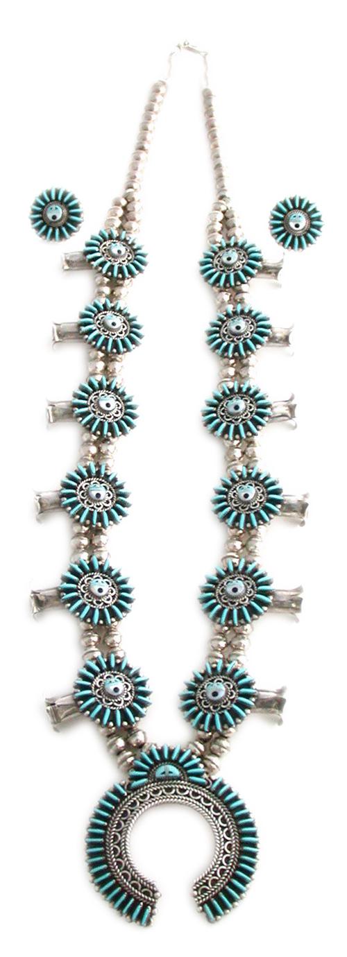Zuni Turquoise Needlepoint Squash Blossom