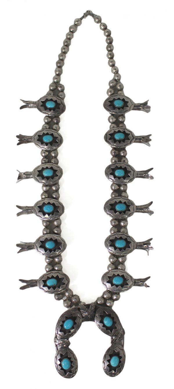 NK3850 - Navajo Handmade Squash Blossom Necklace