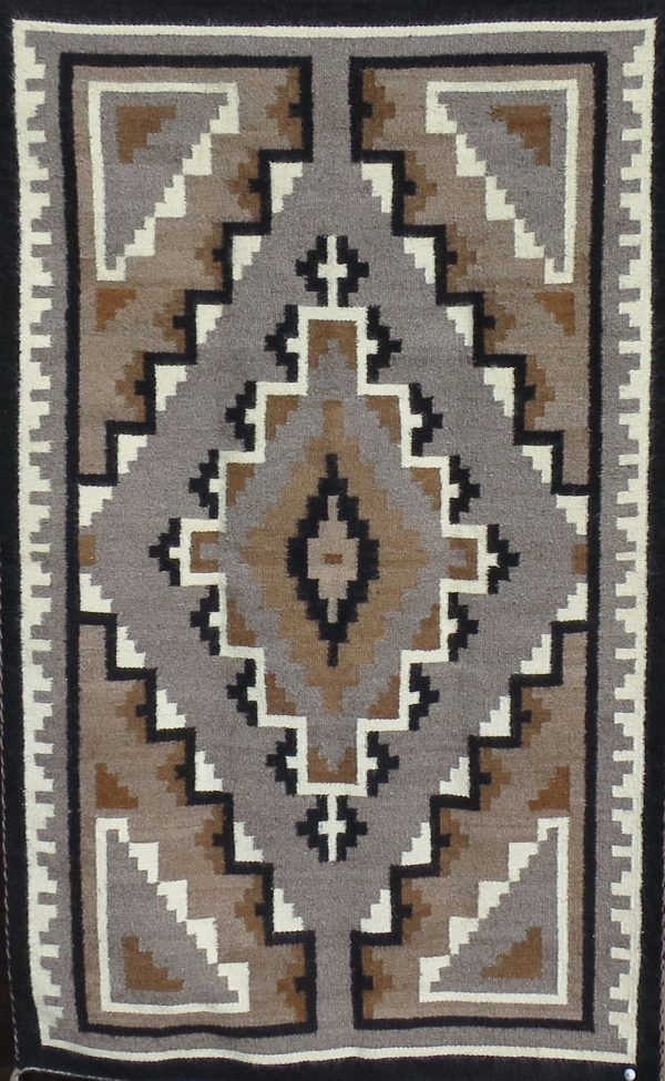 Lucy Begay, Navajo Handwoven Two Gray Hills Rug