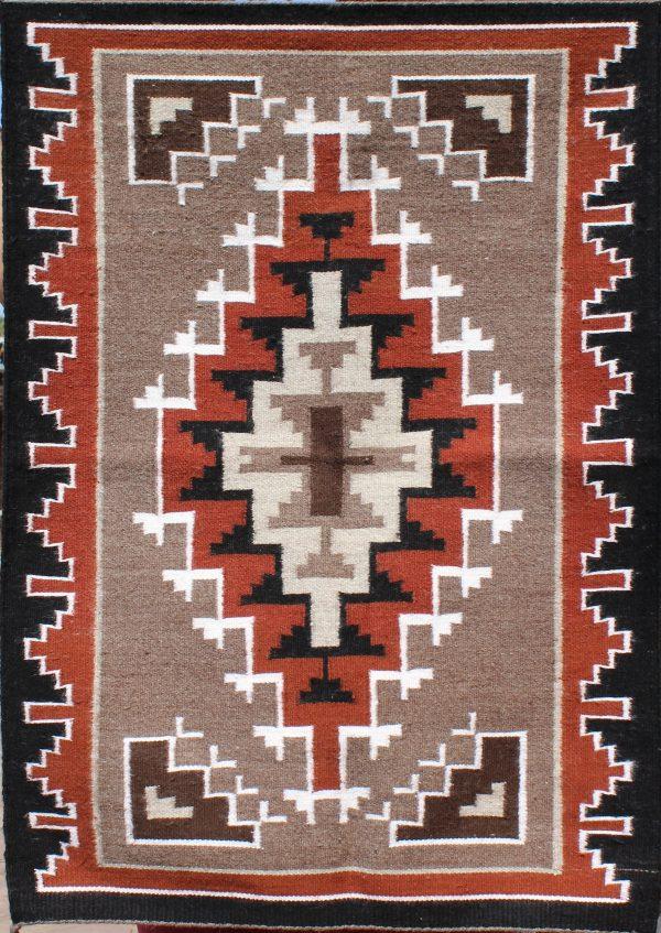 Mamie Begay, Navajo Handwoven Two Grey Hills Rug