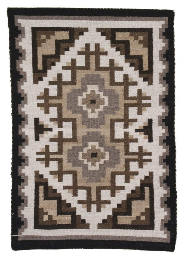 Christine Foghorn Navajo Handwoven Two Grey Hills Rug