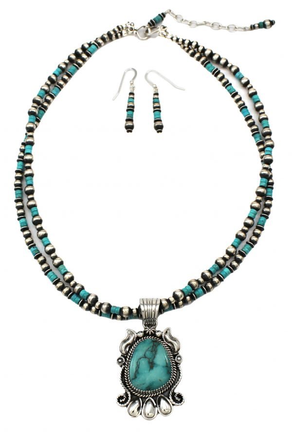 Navajo Handmade Sterling Silver Turquoise Necklace and Earring Set