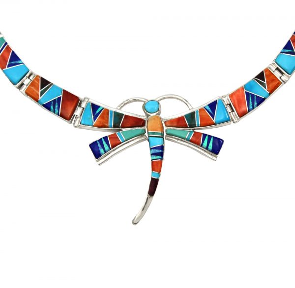 Calvin Begay Handmade Sterling Silver Inlay Necklace and Earring Set