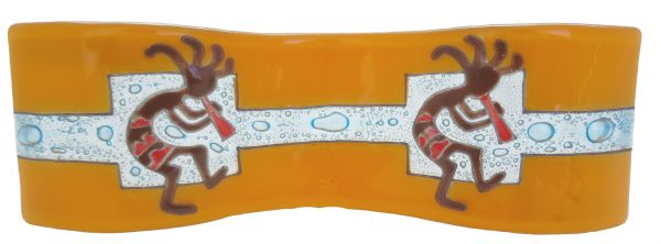 Two Kokopellis Wavy Glass Art - M017KOK5